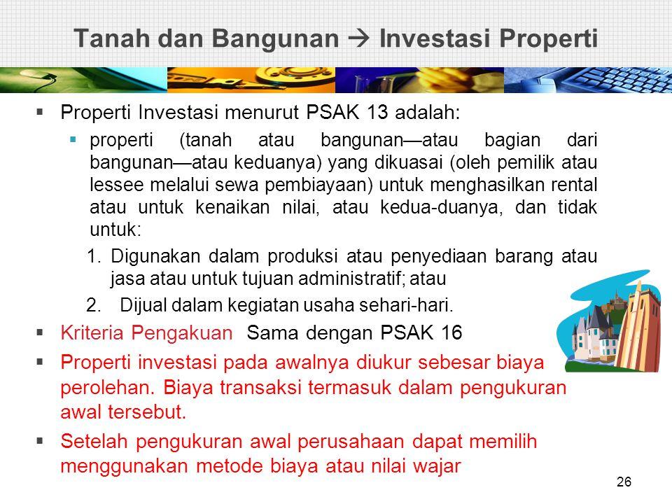 Tanah dan Bangunan  Investasi Properti