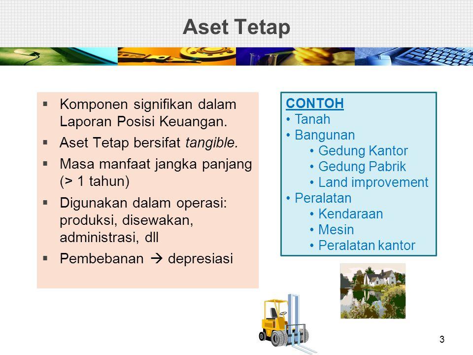 Aset Tetap Komponen signifikan dalam Laporan Posisi Keuangan.