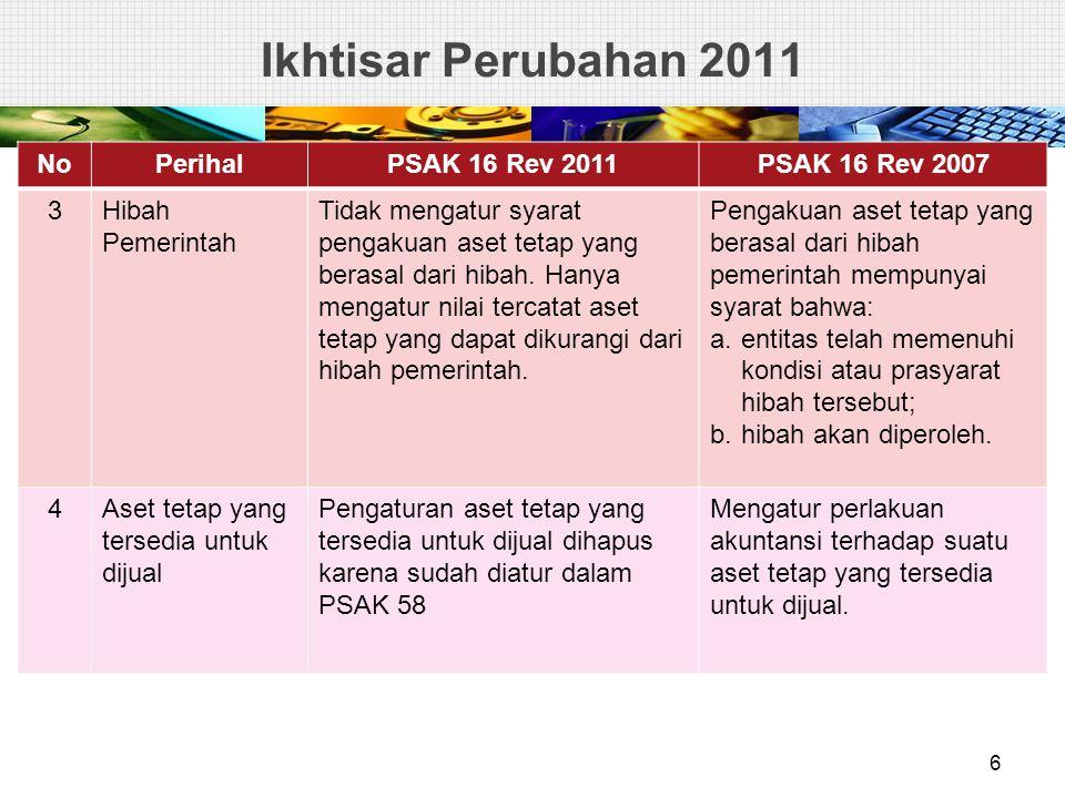 Ikhtisar Perubahan 2011 No Perihal PSAK 16 Rev 2011 PSAK 16 Rev 2007 3