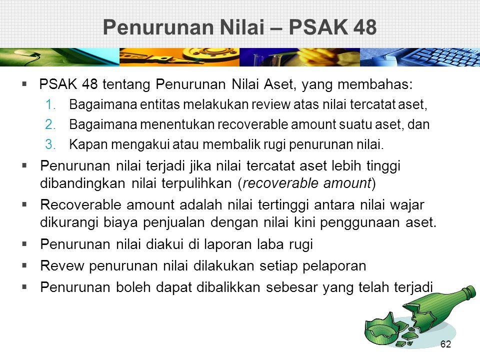 Penurunan Nilai – PSAK 48 PSAK 48 tentang Penurunan Nilai Aset, yang membahas: Bagaimana entitas melakukan review atas nilai tercatat aset,
