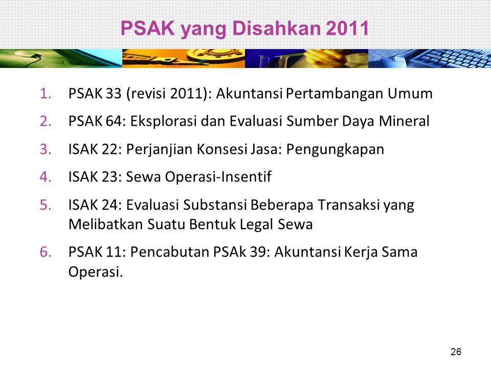 PSAK yang Disahkan 2011 PSAK 33 (revisi 2011): Akuntansi Pertambangan Umum. PSAK 64: Eksplorasi dan Evaluasi Sumber Daya Mineral.