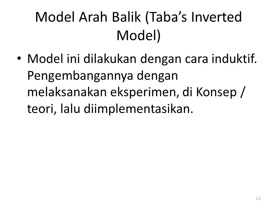 Model Arah Balik (Taba's Inverted Model)