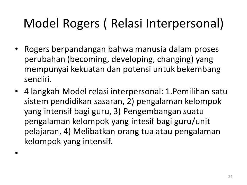 Model Rogers ( Relasi Interpersonal)
