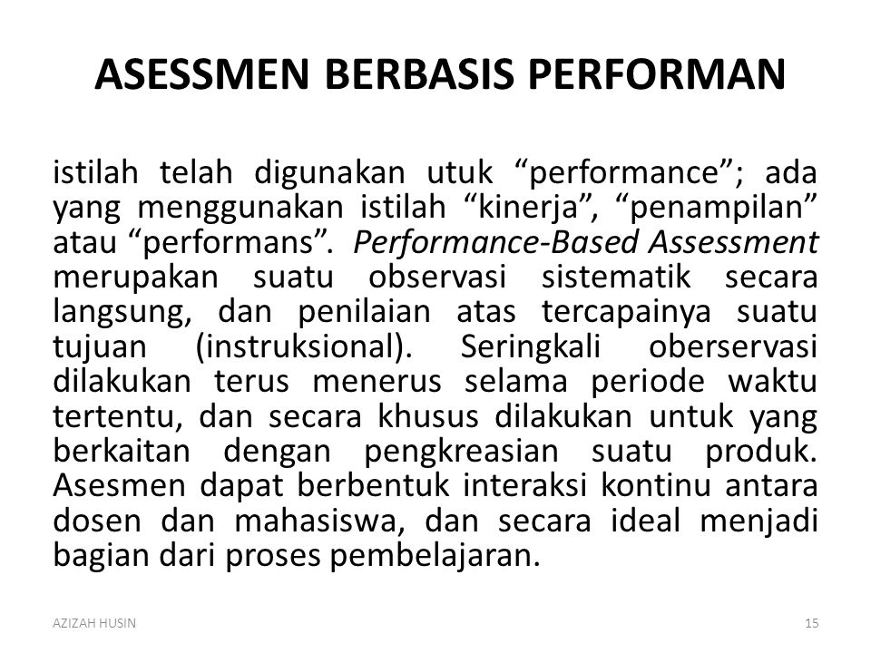 Asessmen BERBASIS PERFORMAN