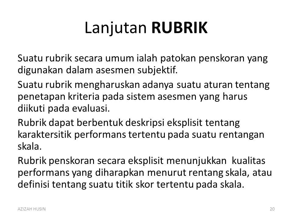 Lanjutan RUBRIK