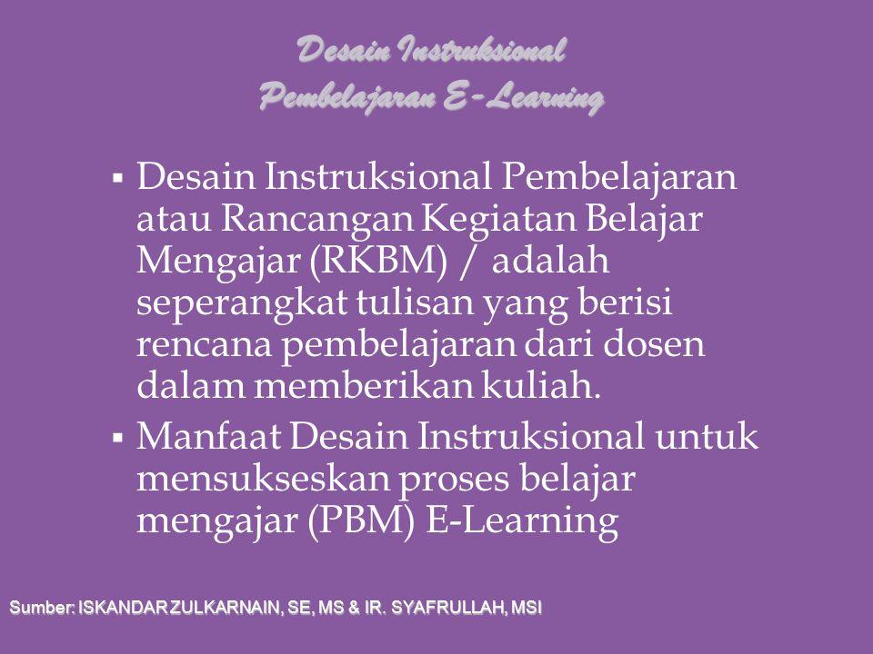 Desain Instruksional Pembelajaran E-Learning