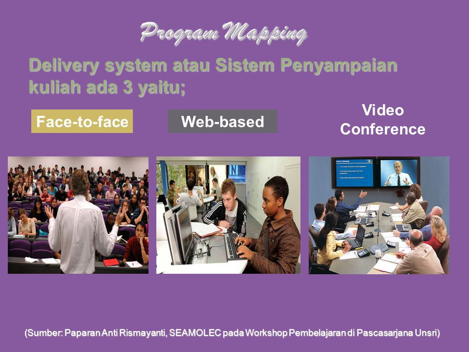 Program Mapping Delivery system atau Sistem Penyampaian kuliah ada 3 yaitu; Video Conference. Face-to-face.