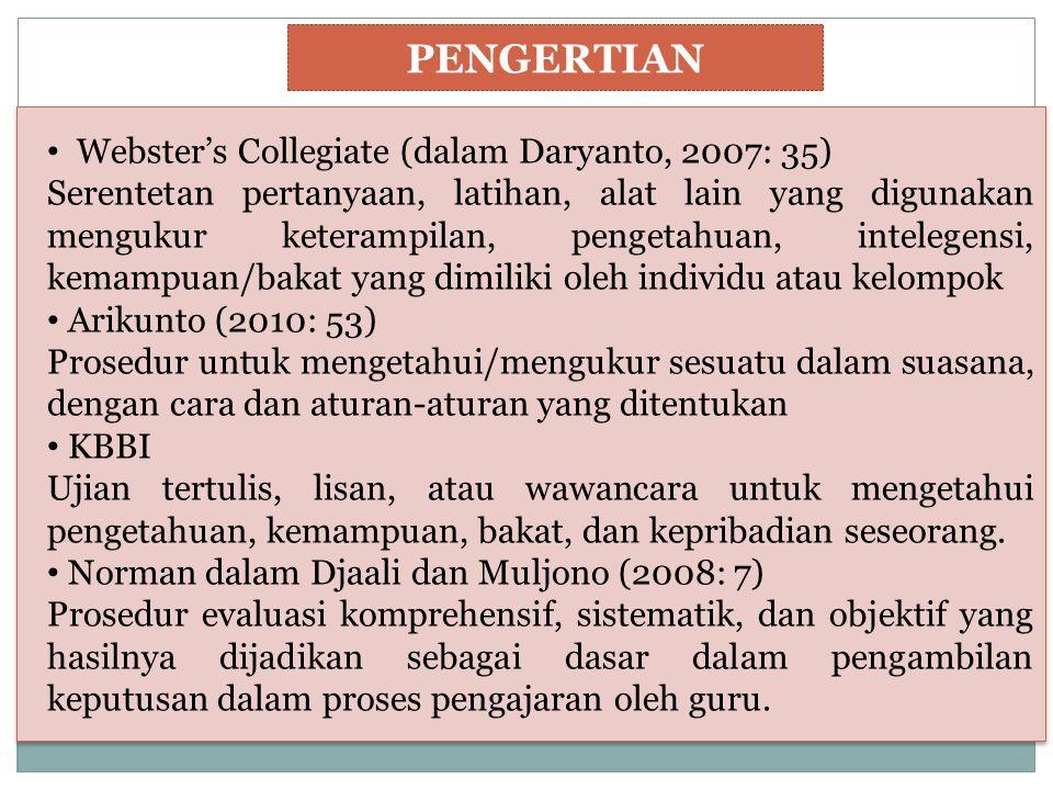 PENGERTIAN Webster's Collegiate (dalam Daryanto, 2007: 35)