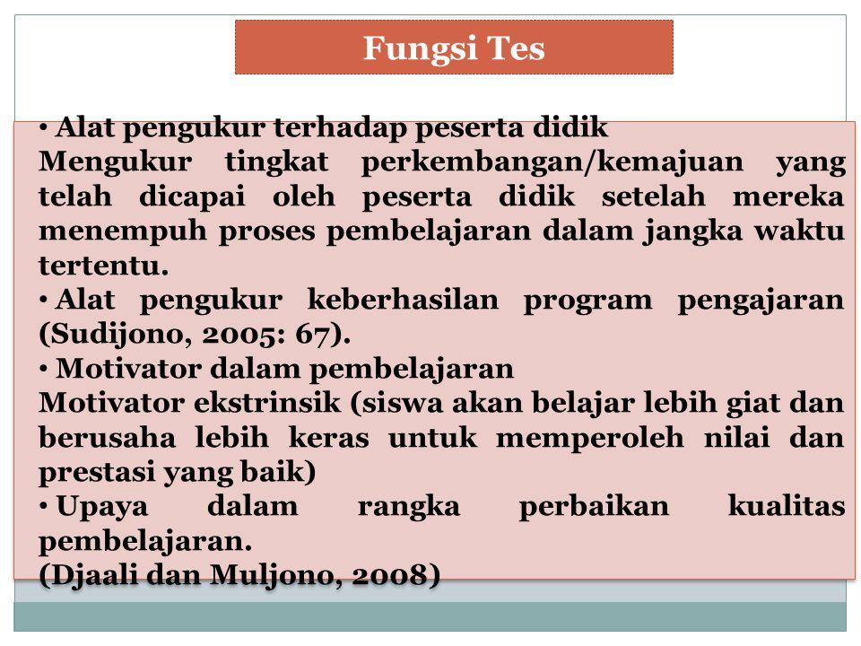 Fungsi Tes Alat pengukur terhadap peserta didik