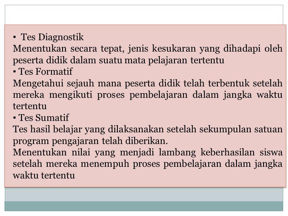 Tes Diagnostik Menentukan secara tepat, jenis kesukaran yang dihadapi oleh peserta didik dalam suatu mata pelajaran tertentu.