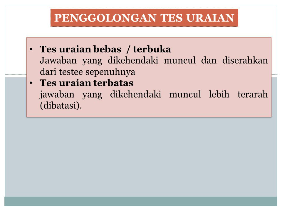 PENGGOLONGAN TES URAIAN