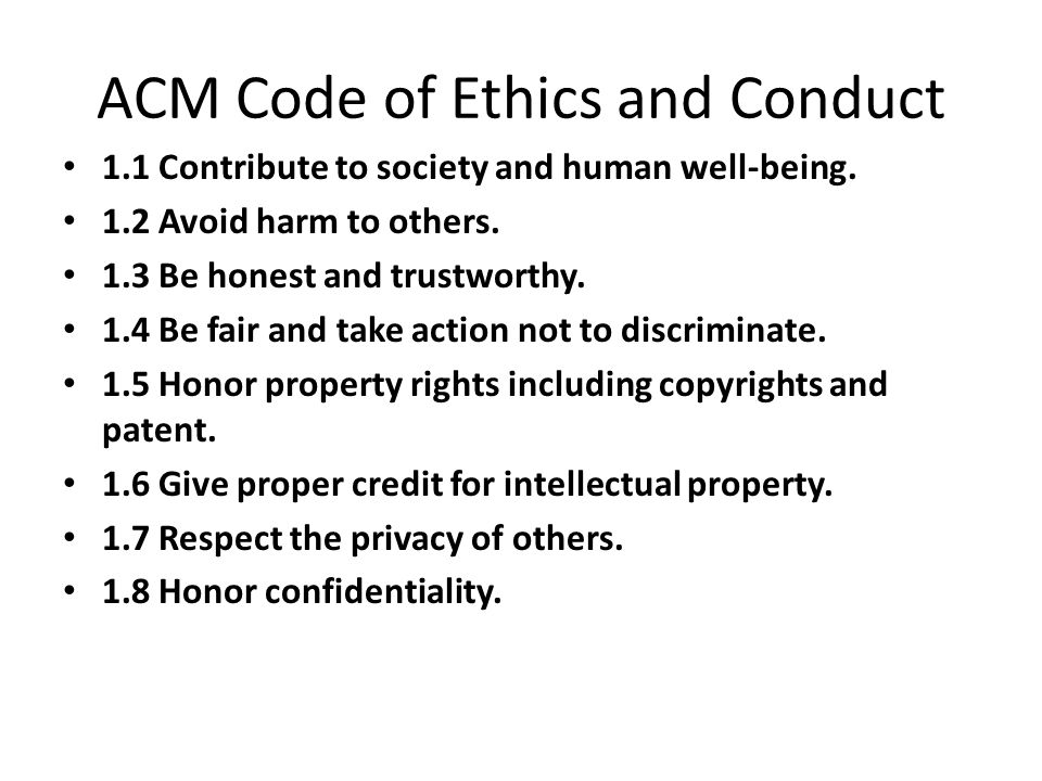 ACM Code of Ethics and Conduct