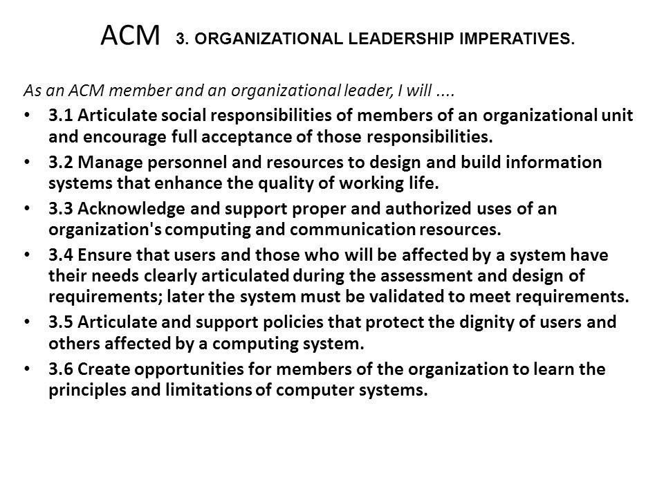 ACM 3. ORGANIZATIONAL LEADERSHIP IMPERATIVES.