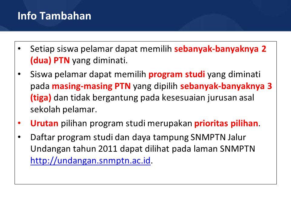Info Tambahan Setiap siswa pelamar dapat memilih sebanyak-banyaknya 2 (dua) PTN yang diminati.