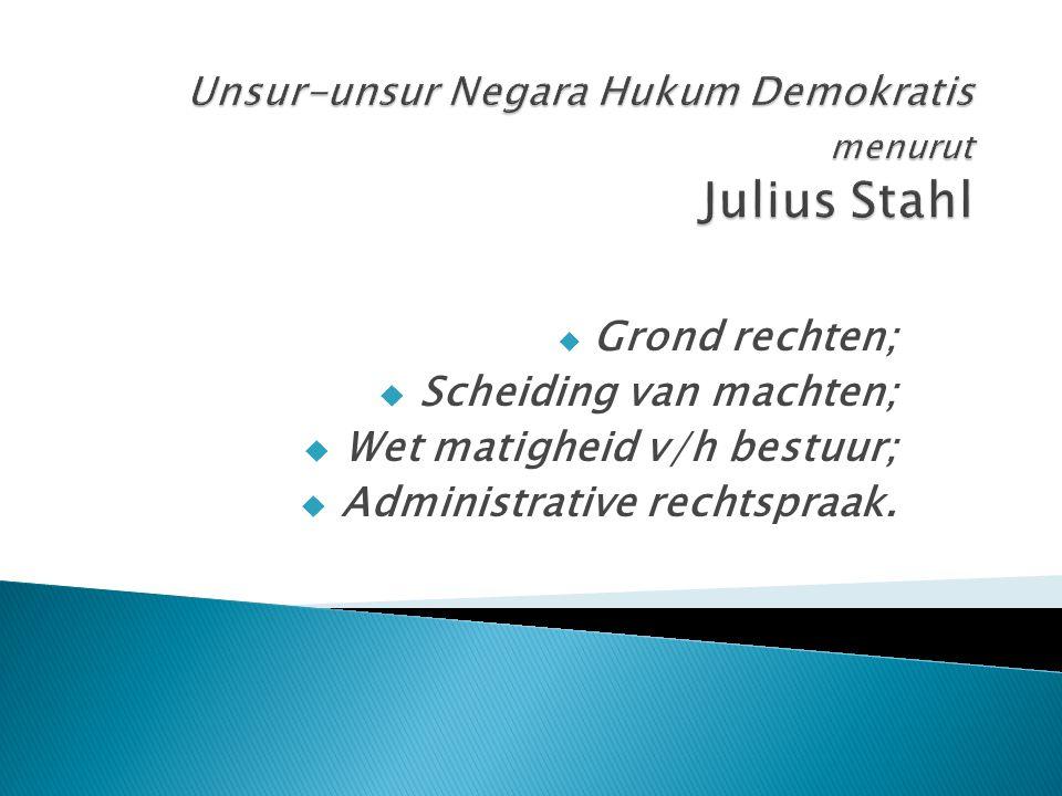 Unsur-unsur Negara Hukum Demokratis menurut Julius Stahl