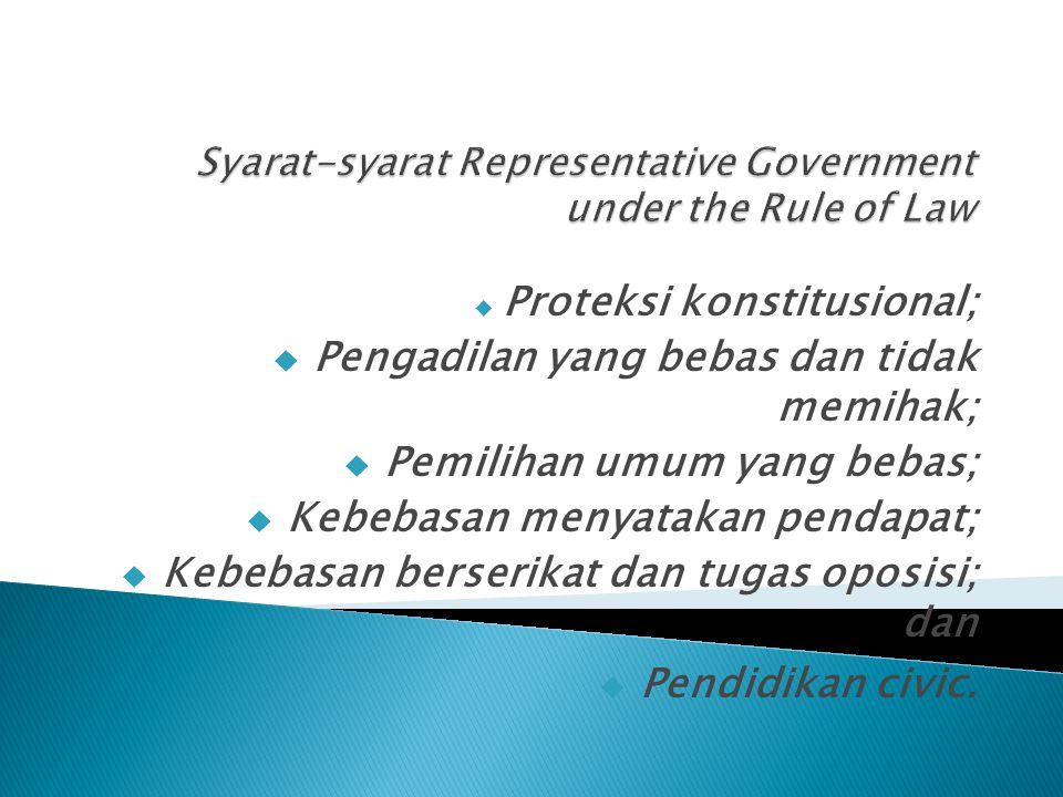 Syarat-syarat Representative Government under the Rule of Law