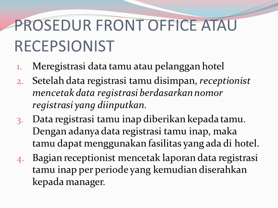 PROSEDUR FRONT OFFICE ATAU RECEPSIONIST