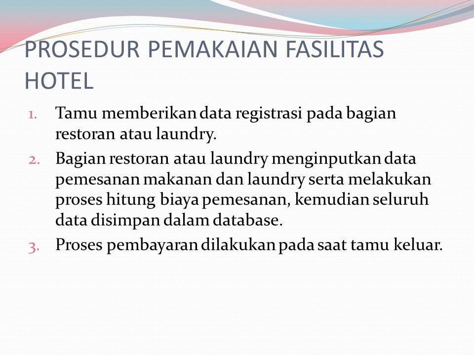 PROSEDUR PEMAKAIAN FASILITAS HOTEL