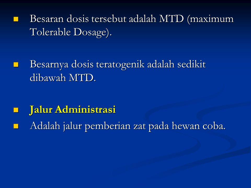 Besaran dosis tersebut adalah MTD (maximum Tolerable Dosage).