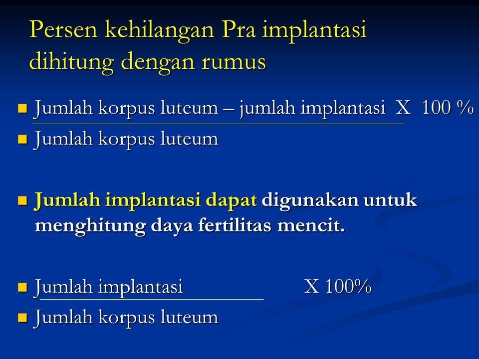 Persen kehilangan Pra implantasi dihitung dengan rumus