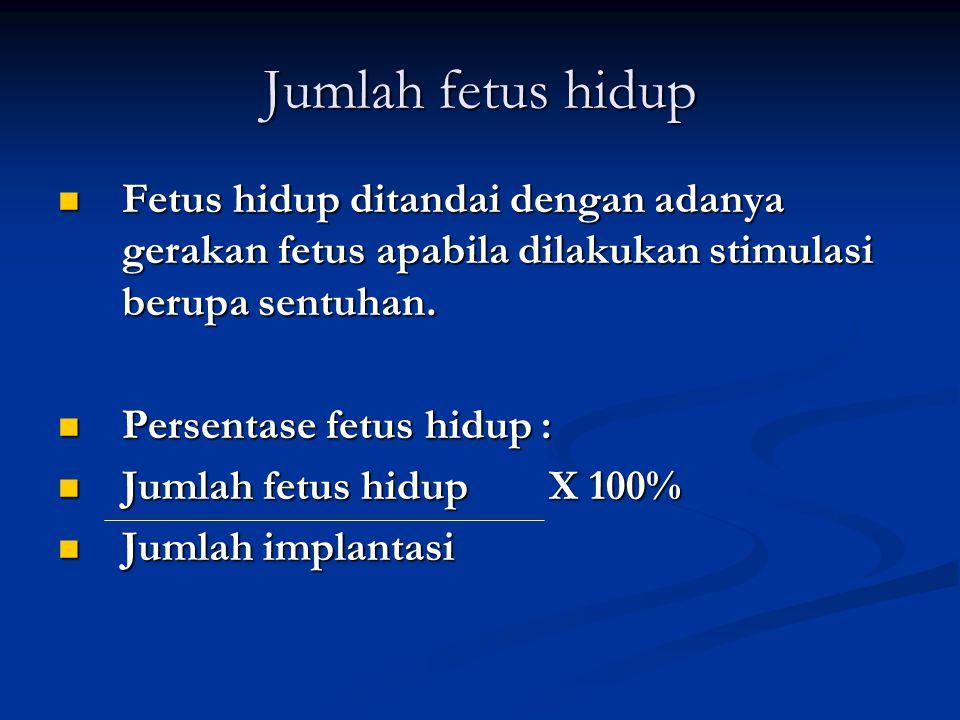 Jumlah fetus hidup Fetus hidup ditandai dengan adanya gerakan fetus apabila dilakukan stimulasi berupa sentuhan.