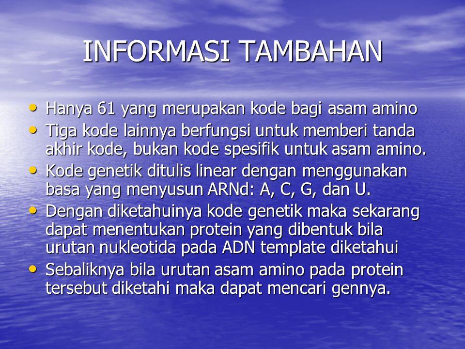 INFORMASI TAMBAHAN Hanya 61 yang merupakan kode bagi asam amino