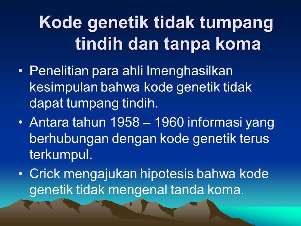 Kode genetik tidak tumpang tindih dan tanpa koma
