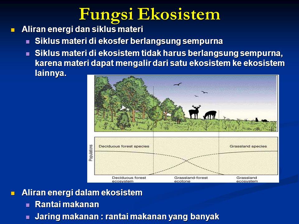 Fungsi Ekosistem Aliran energi dan siklus materi