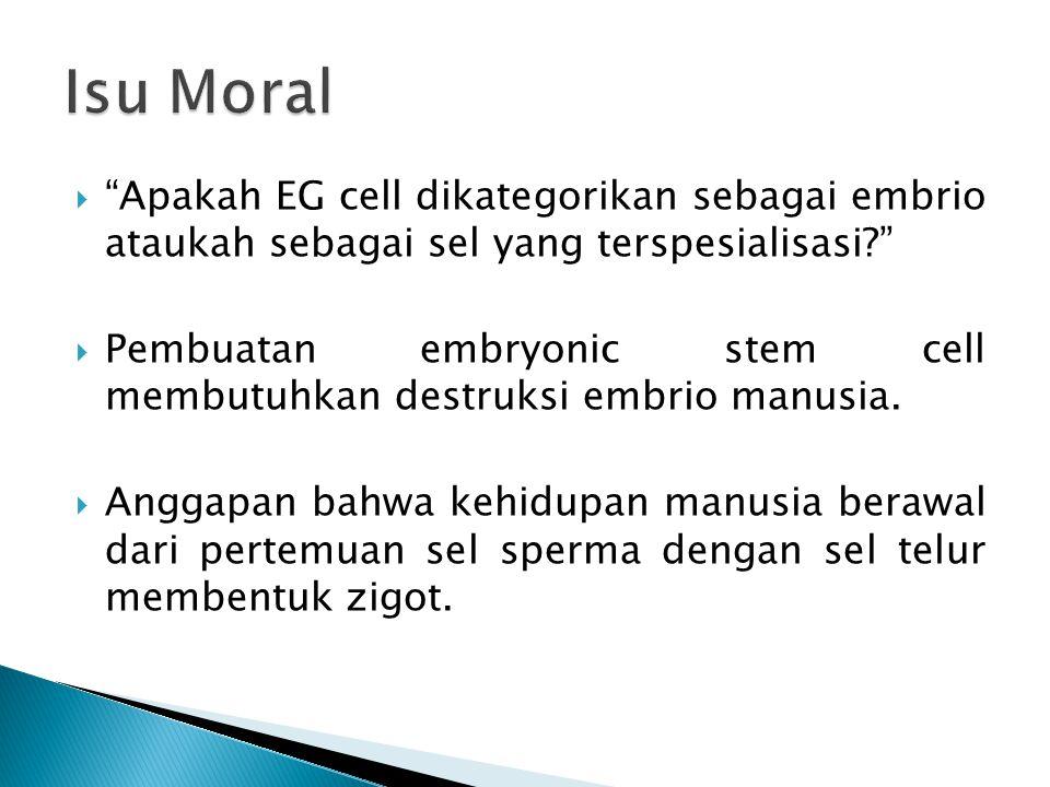 Isu Moral Apakah EG cell dikategorikan sebagai embrio ataukah sebagai sel yang terspesialisasi