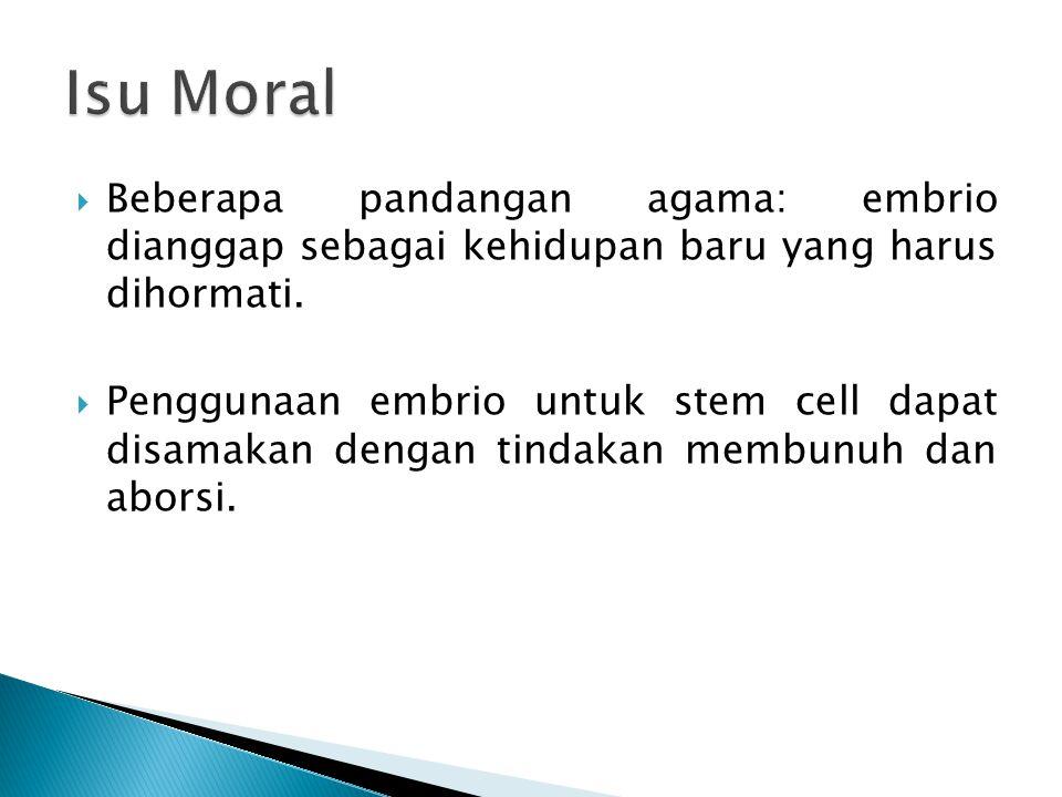 Isu Moral Beberapa pandangan agama: embrio dianggap sebagai kehidupan baru yang harus dihormati.