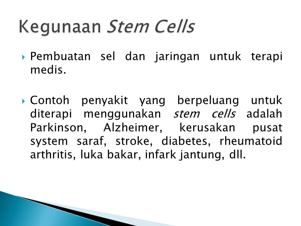 Kegunaan Stem Cells Pembuatan sel dan jaringan untuk terapi medis.
