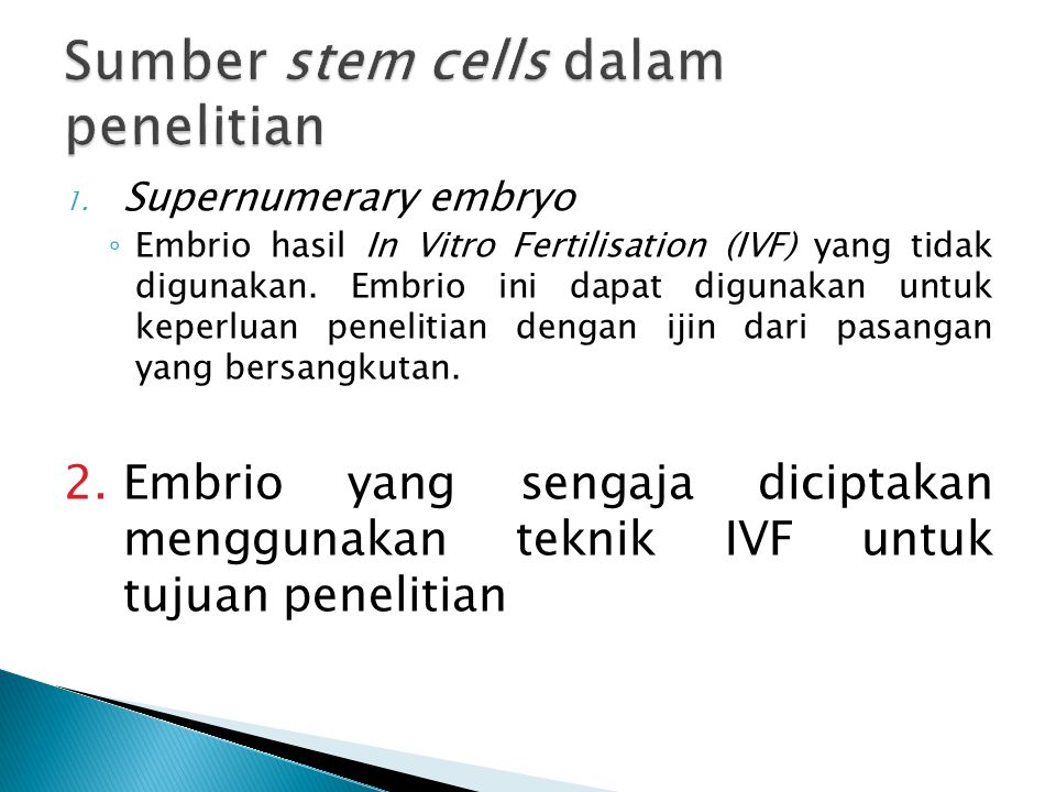 Sumber stem cells dalam penelitian