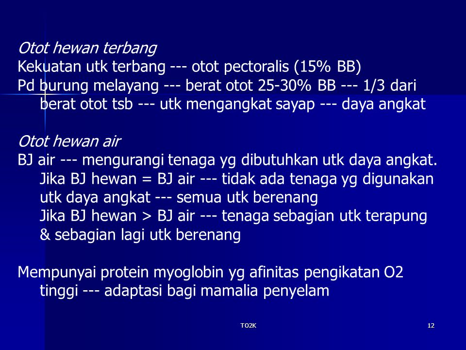 Kekuatan utk terbang --- otot pectoralis (15% BB)