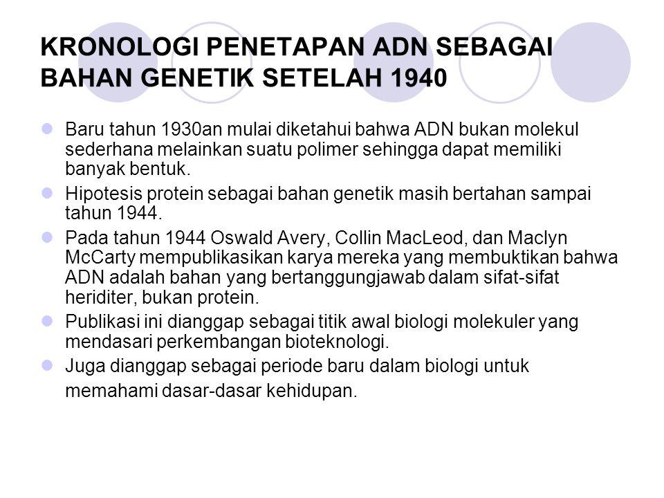 KRONOLOGI PENETAPAN ADN SEBAGAI BAHAN GENETIK SETELAH 1940