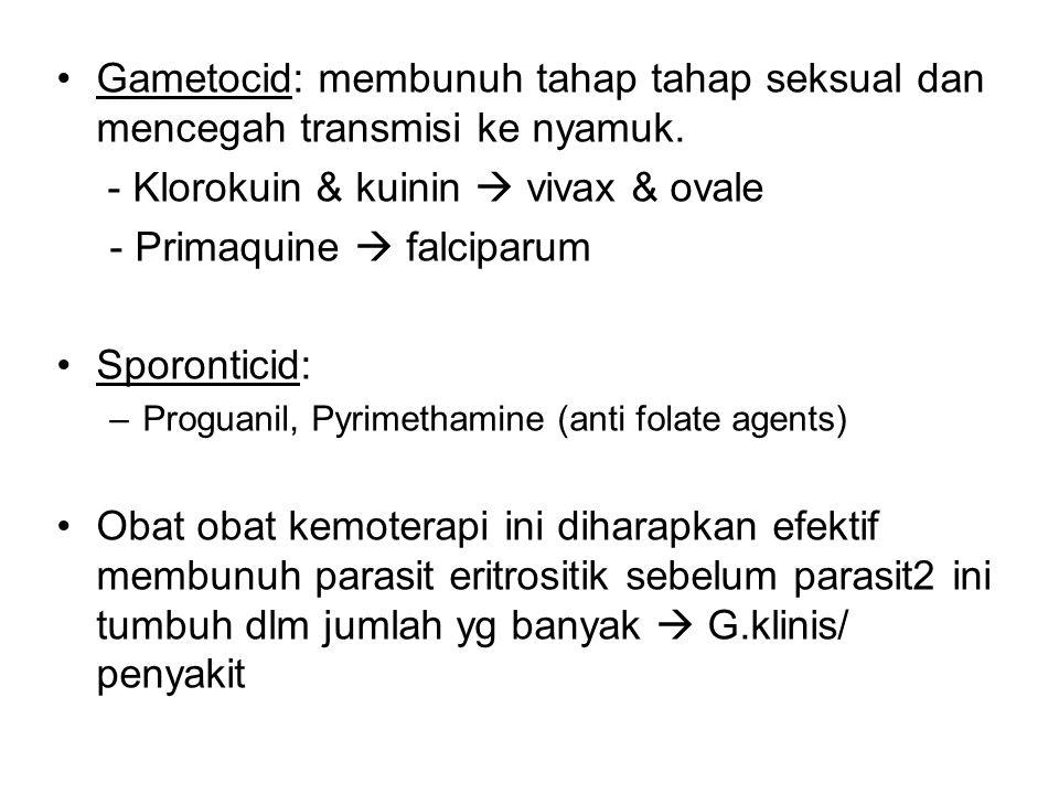 - Klorokuin & kuinin  vivax & ovale - Primaquine  falciparum