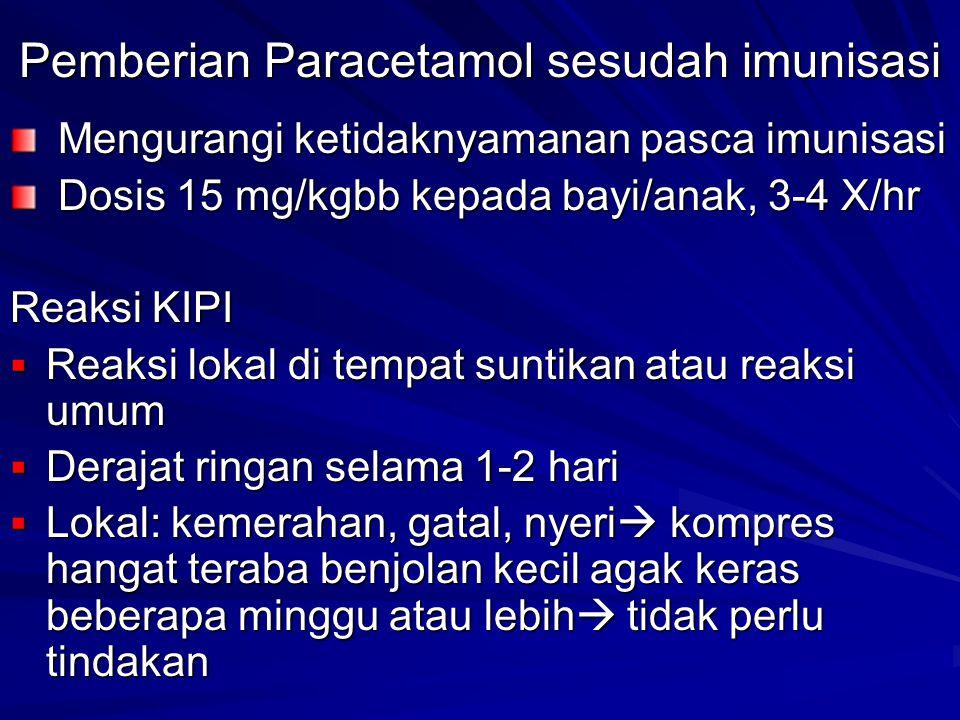 Pemberian Paracetamol sesudah imunisasi