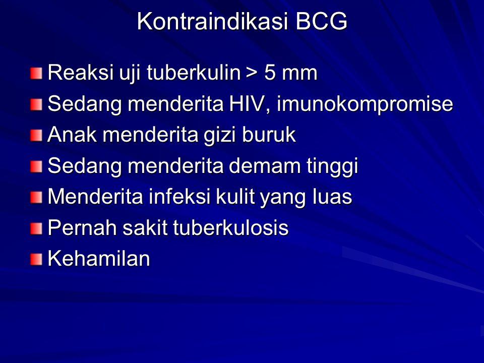 Kontraindikasi BCG Reaksi uji tuberkulin > 5 mm
