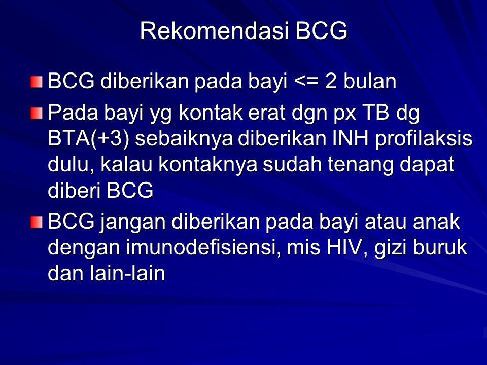 Rekomendasi BCG BCG diberikan pada bayi <= 2 bulan