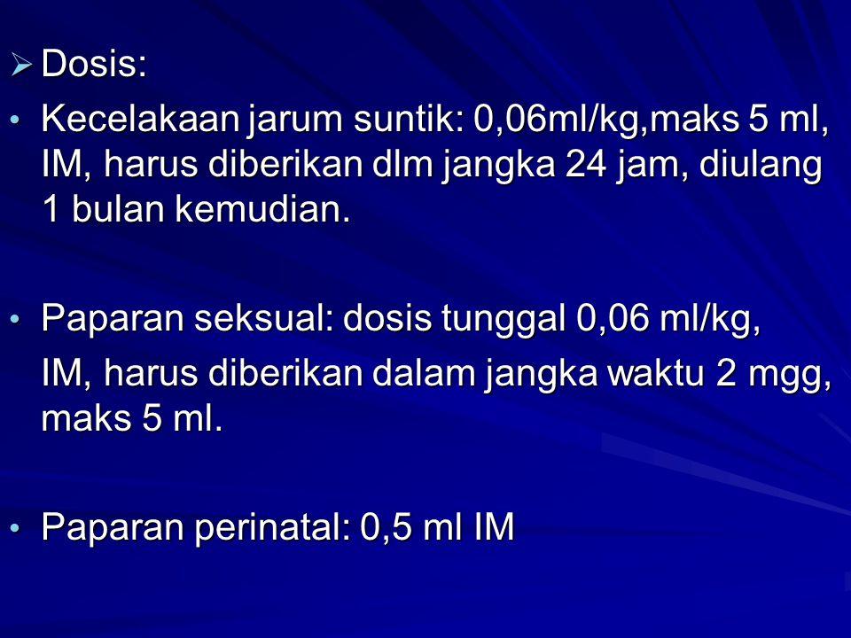 Dosis: Kecelakaan jarum suntik: 0,06ml/kg,maks 5 ml, IM, harus diberikan dlm jangka 24 jam, diulang 1 bulan kemudian.