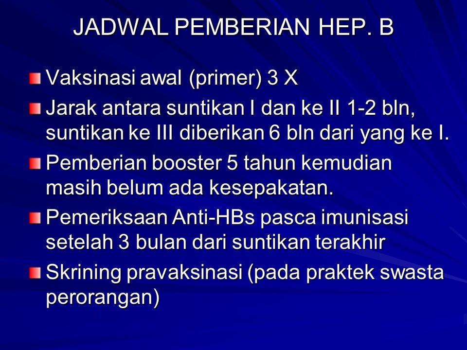 JADWAL PEMBERIAN HEP. B Vaksinasi awal (primer) 3 X