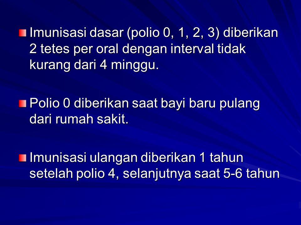 Imunisasi dasar (polio 0, 1, 2, 3) diberikan 2 tetes per oral dengan interval tidak kurang dari 4 minggu.