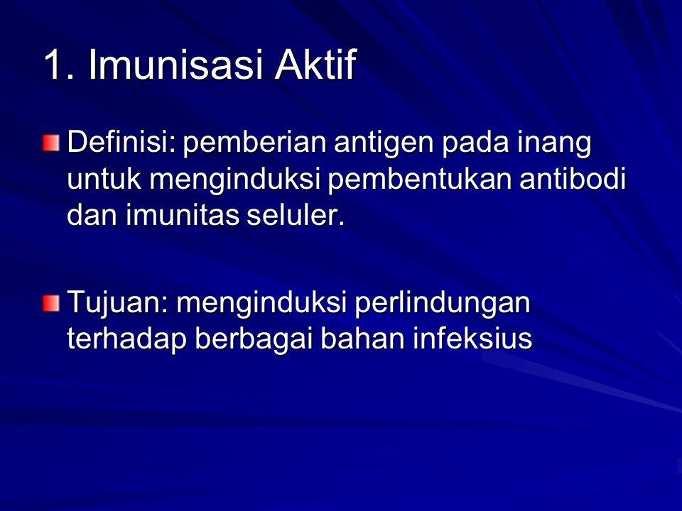 1. Imunisasi Aktif Definisi: pemberian antigen pada inang untuk menginduksi pembentukan antibodi dan imunitas seluler.