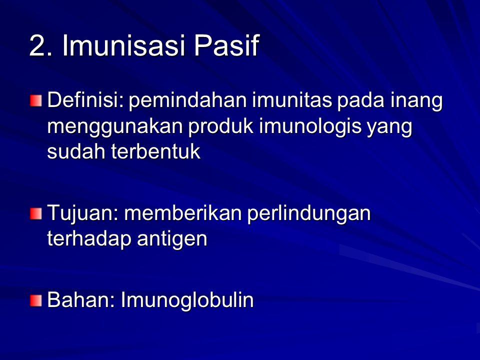 2. Imunisasi Pasif Definisi: pemindahan imunitas pada inang menggunakan produk imunologis yang sudah terbentuk.