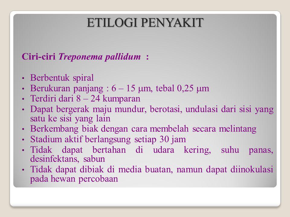 ETILOGI PENYAKIT Ciri-ciri Treponema pallidum : Berbentuk spiral