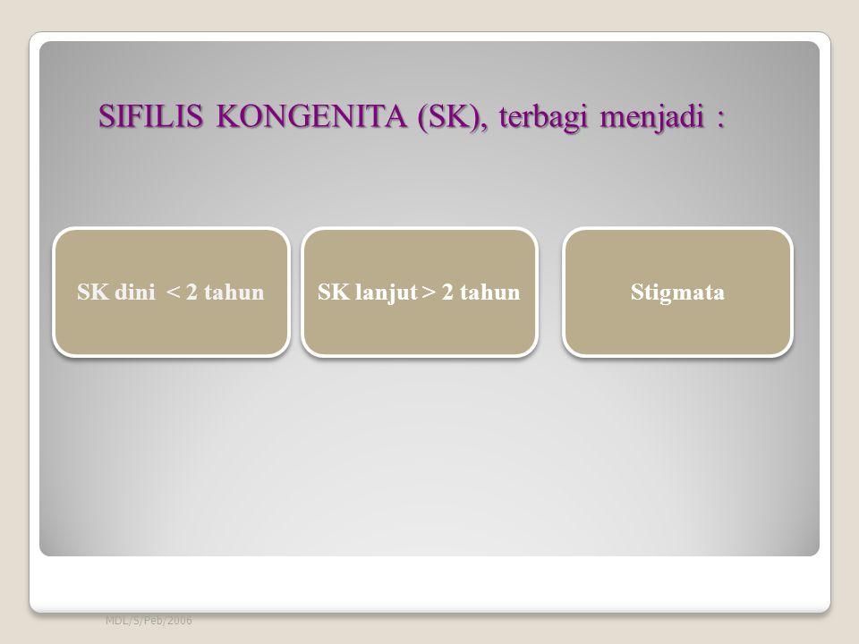 SIFILIS KONGENITA (SK), terbagi menjadi :