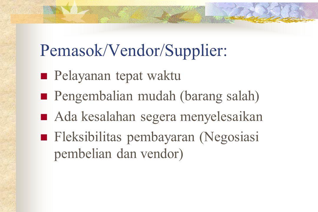 Pemasok/Vendor/Supplier: