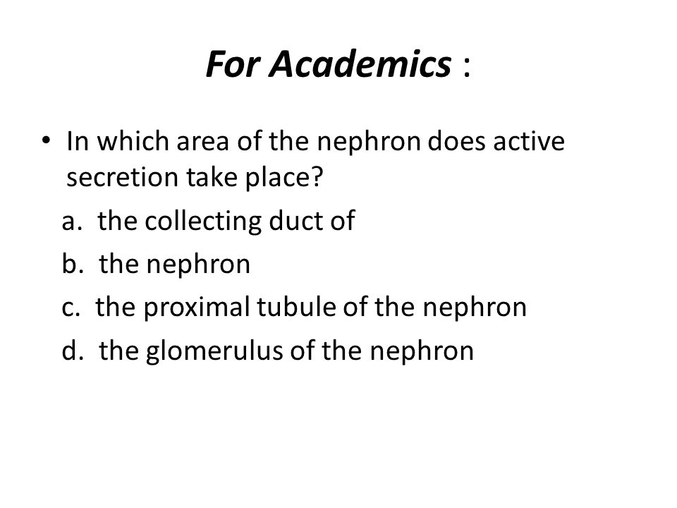 For Academics : In which area of the nephron does active secretion take place a. the collecting duct of.