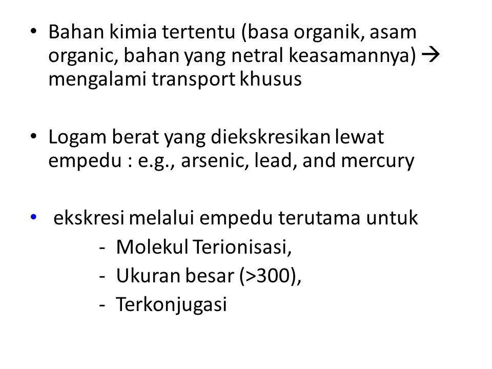 Bahan kimia tertentu (basa organik, asam organic, bahan yang netral keasamannya)  mengalami transport khusus