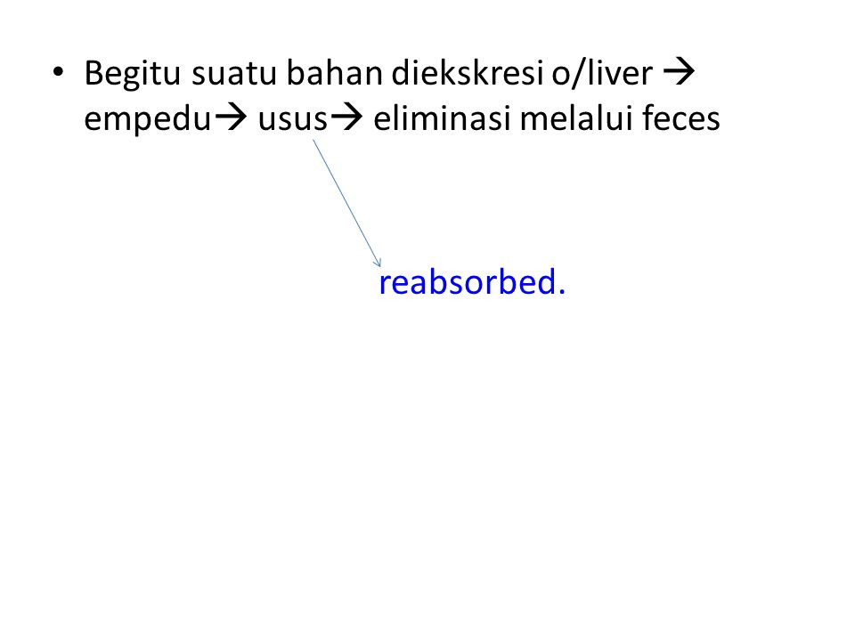 Begitu suatu bahan diekskresi o/liver  empedu usus eliminasi melalui feces