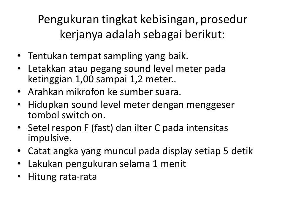 Pengukuran tingkat kebisingan, prosedur kerjanya adalah sebagai berikut: